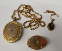 A diamond set picture locket on a 9 ct gold chain, an unmarked brooch and a 9 ct gold pendant (40.