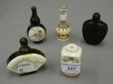 Five various snuff bottles