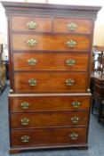 A 19th century mahogany chest on chest