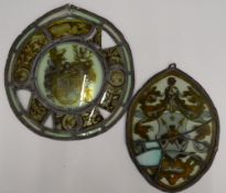 Two 19th century stained glass panels