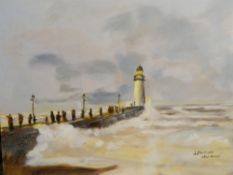J HARRISON (20th/21st century) British, Pier and Lighthouse, oil on board, signed, unframed.
