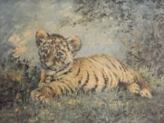 SILVIA DURAN (20th century) Spanish, Tiger Cub, print, signed, framed. 50 x 39 cm.