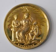 A Masonic gilded medal