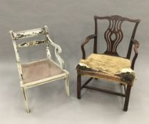 Two 19th century open armchairs