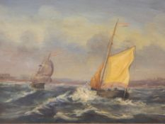 B V DE BURG (19th century) Continental, Ships in Choppy Waters, oil on board, signed, framed.