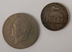 A 1938 Delaware silver half dollar and another dollar