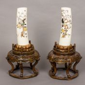 A pair of Japanese Meiji period shibayama ivory tusks Each decorated with birds amongst a flowering