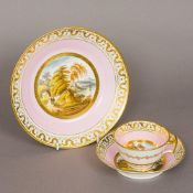 A 19th century hand painted porcelain cabinet trio Each piece centrally painted with a scenic