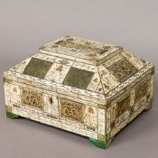 A 17th/18th century Continental bone clad casket The domed hinged lid set with carved bone panels