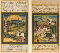 A pair of 19th century Persian manuscript pages Each painted with Hunting Scenes and calligraphy,