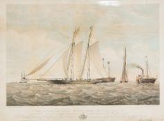 THOMAS GOLDSWORTH DUTTON (1819-1891) British The Schooner Yacht 'Gloriana' Lithographic print,