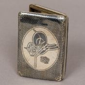 A 19th century Ottoman niello decorated silver cigarette case Of hinged rectangular form,