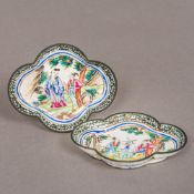 A pair of small Chinese 18th/19th century enamel dishes Each of quatrefoil form,