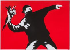 After BANKSY (born 1974) British Love is in the Air Limited edition print by West Country Prince,