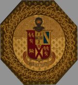 A 19th century beaded and embroidered armorial Of octagonal form,