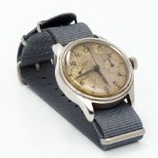 A Lemania gentleman's military naval chronograph wristwatch (HS9) (Hydrograph Service) The dial