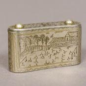 A Victorian steel vesta case Of curved form, the sliding top inscribed A Parker,