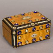 A 19th century French mother-of-pearl and enamel decorated jewellery box Of caned hinged