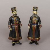 A pair of bronze figures Each formed as a bearded Russian soldier. Each 18 cm high.