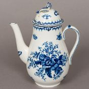A Worcester blue and white porcelain coffee pot - WITHDRAWN Decorated in the round with