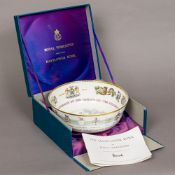 A Royal Worcester limited edition hand painted bowl commemorating the 350th Anniversary of the