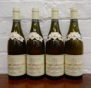 Four bottles of 2002 Jean Noel Gagnard Chassagne Montrachet Les Chaumees Premier Cru