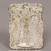 A Victorian silver castle top card case, hallmarked London 1843,