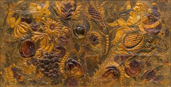 Two 19th century Continental leather panels Each ornately embossed and painted, each framed.