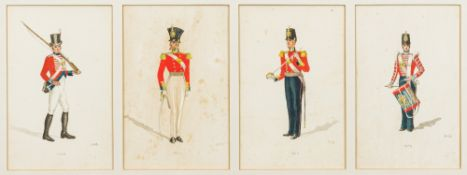 A collection of watercolours depicting uniforms of the Royal Marines Each illustration showing a
