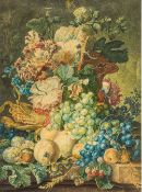 A finely painted 19th century Still Life of Flowering Fruit and Insects Watercolour, unsigned,