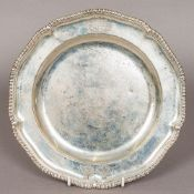 A George II silver salver, probably hallmarked for London 1759,
