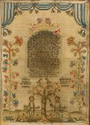 An early 19th century needlework sampler,