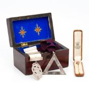 A 9 ct gold Masonic stick pin Set with a carved sardonyx intaglio,