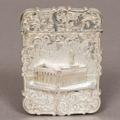 A Victorian silver castle top card case, probably hallmarked for London 1843,