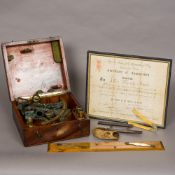 A 19th century sextant Housed in original fitted mahogany case,