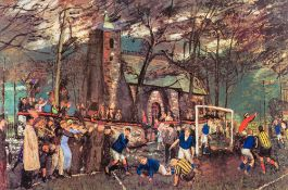 CAREL WEIGHT RA (1908-1997) British (AR) Village Cup Tie Colour print, signed in pencil to margin,