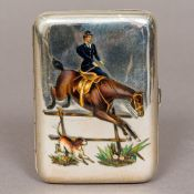 A Continental 800 silver and enamel cigarette case Of hinged rounded rectangular form,