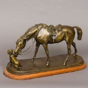 A patinated bronze animalier group Formed as a dog and a horse, mounted on a wooden plinth base.