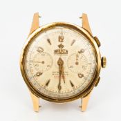A vintage 18 ct gold cased Walker gentlemen's chronograph wristwatch The silvered dial with Arabic