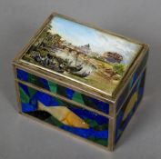 A Russian silver malachite, lapis and agate inset box The hinged lid painted with a river scene,