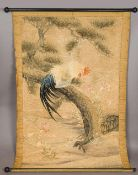 A fine quality 19th century Japanese Meiji period wool work embroidery depicting a hen perched in a