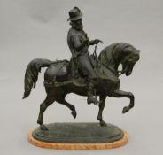 After HUNT Tudor Horseman Bronze, naturalistically modelled on a marble base.