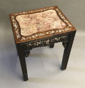 A late 19th century Chinese mother-of-pearl inlaid hardwood stand The rectangular top with marble