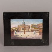 A 19th century Italian Grand Tour micro-mosaic inset plaque depicting St Peter's Basilica,