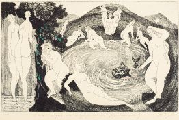 MICHAEL TINGLE (born 1954) British (AR) French Bathers Etching, limited edition numbered 7/75,