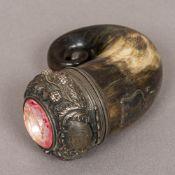 A Victorian silver mounted horn snuff mull, hallmarked for Edinburgh 1849,