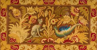 A pair of 19th century petit point embroidered panels One centred with dragons,