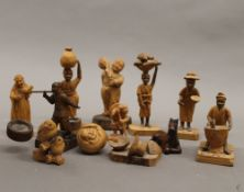 A quantity of wooden carved figures, etc. The tallest 12 cm.