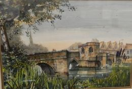 DAVID HYDE (20th/21st century) British, St Ives Bridge, Cambridgeshire, watercolour,