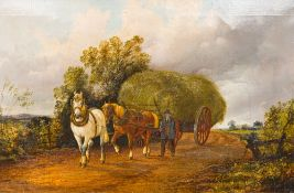 ENGLISH SCHOOL (19th century), Taking the Hay, oil on canvas, indistinctly signed possibly S CLARK,
